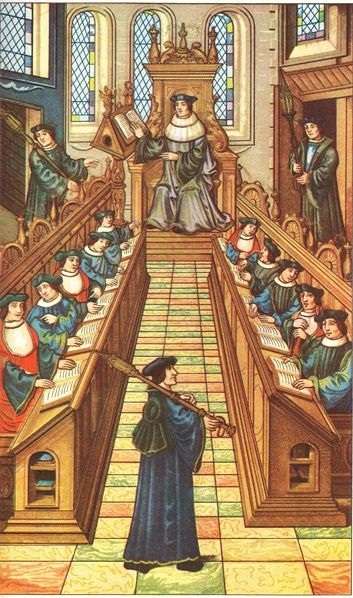 Meeting of doctors at the university of Paris. From a medieval manuscript.