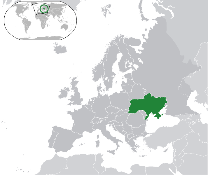 Map of Ukraine in Europe